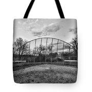 The Baseball Field Black And White Tote Bag