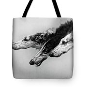 The Borzois, Black And White Sketch, 3 Russian Wolfhounds Tote Bag