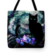 The Cat With Aquamarine Eyes And Celestial Crystals Tote Bag