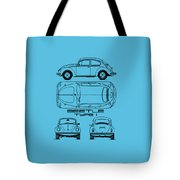 The Classic Beetle Blueprint Tote Bag