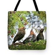 The Cowbird Family - So Happy Together Tote Bag by Peggy Collins