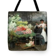 The Flower Vendor On The Quays In Paris Tote Bag