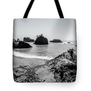 The Oregon Coast In Black And White Tote Bag by Margaret Pitcher