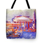 The Pantheon Rome Watercolor Streetscape Tote Bag
