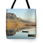 The Storr Reflecting In Loch Fada - Panorama Tote Bag by Maria Gaellman
