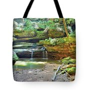 The Waterfall In Old Man's Cave Hocking Hills Ohio Tote Bag