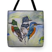 Three Kingfisher Birds - Painting By Ella Tote Bag