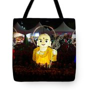 Three Lanterns In The Shape Of Buddhist Monks Tote Bag