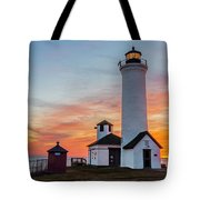 Tibbetts Point Light At Sunset Tote Bag