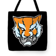 Tiger Head Bitting Beer Can Orange Tote Bag