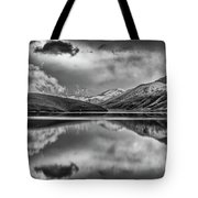 Topaz Lake Winter Reflection, Black And White Tote Bag