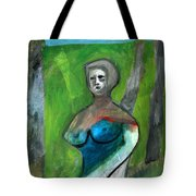 Topless Woman In A Park Tote Bag