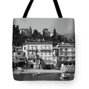 Town In The Shore Of Lake Como In Black And White Tote Bag