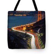 Traffic Racing Over The Golden Gate Bridge Tote Bag
