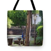tree lamp and old water pump in Cochem Germany Tote Bag