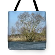 Tree On Frozen Lake Tote Bag