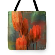 Tulips With Green Background Tote Bag