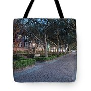 Twilight Panorama Of Charleston Waterfront Park Promenade And Shady Canopy Of Oaks - South Carolina Tote Bag