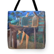 Two Boats In The Night Tote Bag