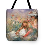 Two Children Seated Among Flowers, 1900 Tote Bag