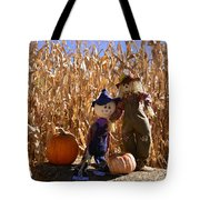 Two Cute Scarecrows With Pumpkins In The Dry Corn Field Tote Bag