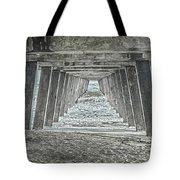 Under The Tybee Island Pier Tote Bag by Judy Hall-Folde