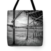 Uner The Pier In Black And White Tote Bag