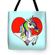 Unicorn In The Heart On Baby Blue Kids Room Decor Tote Bag