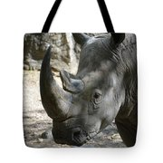 Up Close Look At The Face Of A Rhinoceros Tote Bag