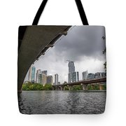 Urban Skyline Of Austin Buildings From Under Bridge With Stormy  Tote Bag