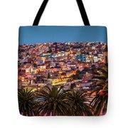 Valparaiso Illuminated At Night Tote Bag