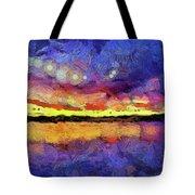Van Gogh Sunset Reflection Tote Bag