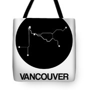 Vancouver Black Subway Map Tote Bag