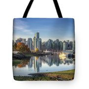 Vancouver Skyline In Autumn Tote Bag by Andy Konieczny