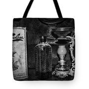 Vapo-cresolene Vaporizer And Bottle Respiratory Remedy Black And White Tote Bag