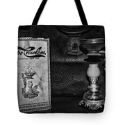 Vapo-cresolene Vaporizer Respiratory Remedy Black And White Tote Bag