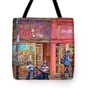 Verdun Montreal Storefront Painting Jessie Et Cie Beaute Candy Nail Shop Hockey Artist C Spandau Art Tote Bag