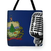 Vermont Flag And Microphone Tote Bag