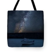 Vibrant Milky Way Composite Image Over Landscape Of Fishing Boat Tote Bag