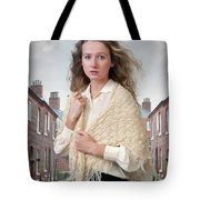 Victorian Woman On A Cobbled Terraced Street Tote Bag