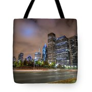 View Of Chicago Skyscrappers With Busy Street In The Foreground Tote Bag