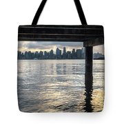 View Of Downtown Seattle At Sunset From Under A Pier Tote Bag