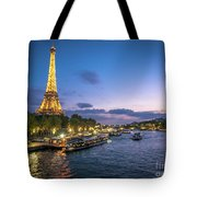 View Of The Eiffel Tower During Sunset From The Scene River Tote Bag