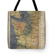 Vintage Auto Map Western Washington Olympic Peninsula Hand Painted Tote Bag