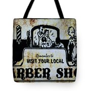 Vintage Barber Sign From The 1950s Tote Bag
