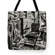 Vintage Dentist Office And Drill Black And White Tote Bag