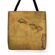 Vintage Map Of Hawaii 1837 Tote Bag