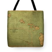 Vintage Map Of Hawaii Tote Bag