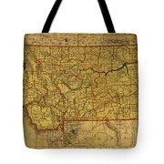 Vintage Map Of Montana Tote Bag