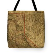 Vintage Map Of Northern California Tote Bag